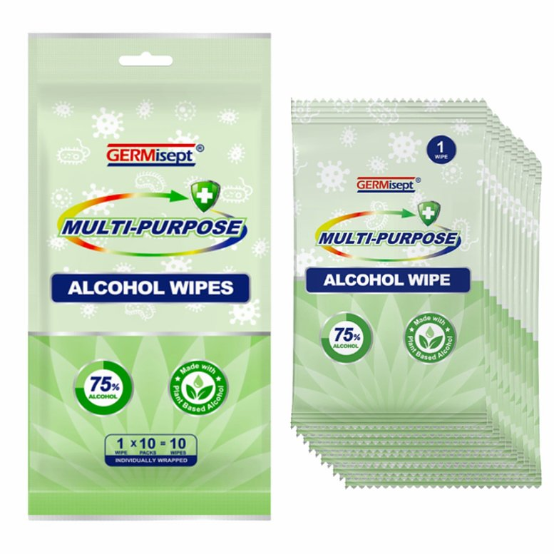 Germisept Alcohol Sanitizing Wipes | Pack of 10 Individual Wipes | G01465 | 15% Off With Code: WINTER