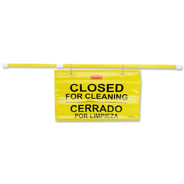 RCP9S1600YL Rubbermaid Yellow Multi-Lingual Closed for Cleaning Hanging Sign