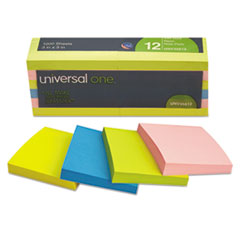 UNV35612 Self-Stick Note Pads, 3 x 3, Assorted Neon Colors